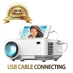 Kaufen Spiegel-Display Beamer von DBPOWER, USB Direkt verbinden mit IOS / Android-Gerät, +50% Helligkeit, Heimkino-Projektor, 1080P/HDMI/VGA/USB/TV Box/Laptop/DVD/ Externe Lautsprecher unterstützt