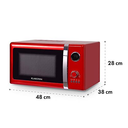 Klarstein Fine Dinesty • Horno microondas con grill • Microondas 2 en 1 • Microondas 800W • Grill 1000W • Capacidad 23L • 12 programas • 3 niveles de descongelación • Display digital • Rojo