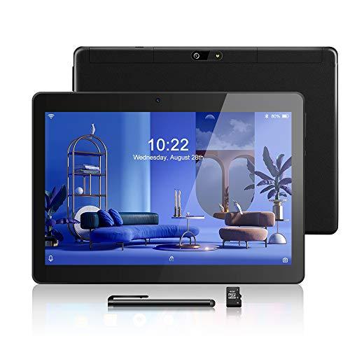 Android Tablet 10,1 Zoll, Android 8.1, Quad Core CPU, Dual SIM Card, 2GB+64GB, IPS HD (1280 x 800), 3G Tablet Pad mit Zwei SIM Kartensteckplätzen, WiFi/WLAN/Bluetooth (Black)