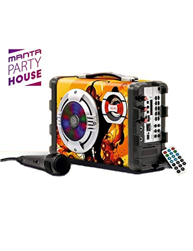 Manta SPK1003 Helios Party House Altoparlante Bluetooth Wireless, Karaoke, Luci da discoteca a LED,...