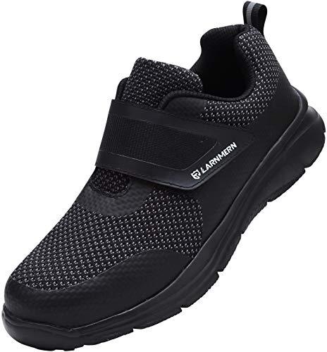 LARNMERN Sicherheitsschuhe Damen Herren Arbeitsschuhe, Leicht Stahlkappe Schuhe Reflektierend Sicherheitsstiefel Atmungsaktiv Industrie Schuhe Sicherheitssneaker LM-121 (Black 38 EU)