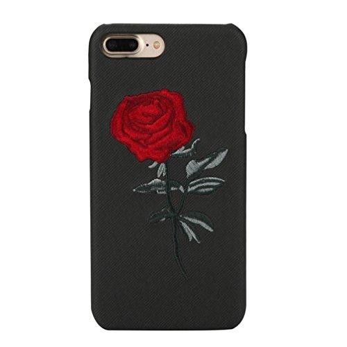 Ouneed® Für iphone 7 Plus / iphone 8 plus 5.5 Zoll Hülle , Christmas Luxury Stickerei Rose Case Cover Schutzhülle Handytasche For iphone 7 / iphone 8 plus 5.5 Zoll (Schwarz)