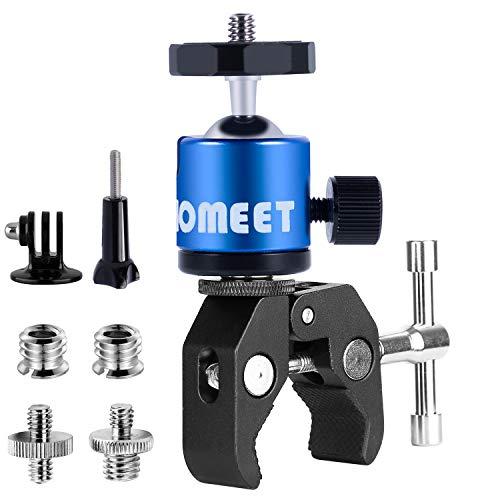 Homeet Super Morsetto Clamp con Teste Treppiedi Supporto Pinza Fotocamera Granchio Clip Rotazione a 360°con Filettature da 1/4 'e 3/8' per Monitor, Flash LED, Telecamera, Microfono, GPS【Blu Teste】