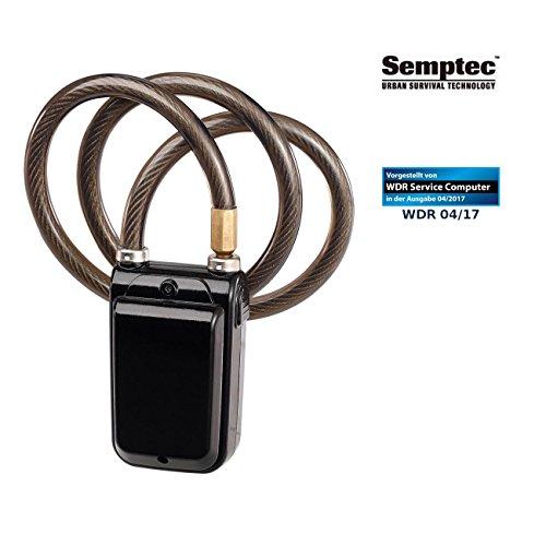 Semptec Urban Survival Technology Fahrradschloss mit Alarm: App-gesteuertes Kabelschloss, Bluetooth, Alarm für Fahrrad, Tür u.v.m. (Fahrrad Alarmanlage Bluetooth)