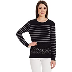 United Colors of Benetton Women's Cotton Sports Knitwear (16A1092D6142I901S_Black and Grey)