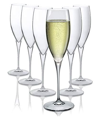 Bormioli Rocco Bicchieri Flûte Champagne - Lavabili in lavastoviglie - Set di 6 - 250 ml - Regalo Perfetto - Adatti per 6 persone - Biccheri in cristallo