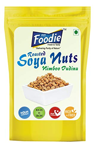 FIT FOODIE Crunchy Dry Roasted Lightly Salted Seasoned SOYA Nuts Combo - Nimbu Pudina (100gm) Pack of 4 - Flavoured Toasted Whole Beans Low Salt Healthy Diet Namkeen Savory Snack Food