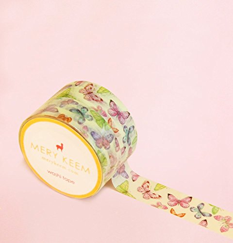 Mariposas Vintage Washi Tape para Diarios y Planificadores • Scrapbooking • Artesanias • Oficina • Artículos de Fiesta • Envoltorios de Regalo • Ideal para Manualidades • Cinta Adhesivas Decorativa