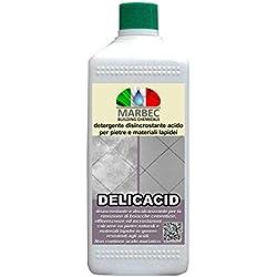 Marbec - DELICACID 1LT | Detergente disincrostante acido per pietre, gres porcellanato e materiali lapidei
