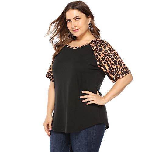 iCerber Camiseta De Gran TamañO para Mujer De Verano,Camisa Holgada para Mujer con Cuello Redondo Y Costura Casual De Leopardo,Camiseta De Manga Corta De Color SóLido Top De Verano
