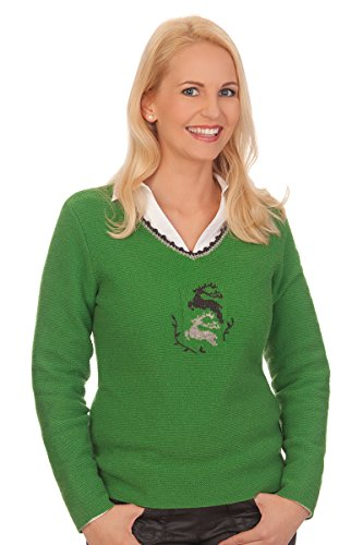 Damen Trachten Pullover - FALUN - grün, grau, rot, Größe XL