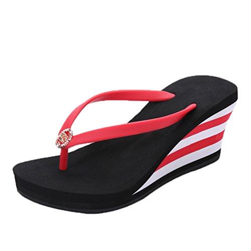 LINNUO Infradito Donna Zeppa Flip-Flop a Strisce Sandali Piattaforma Pantofole con Tacco Ciabatte da...