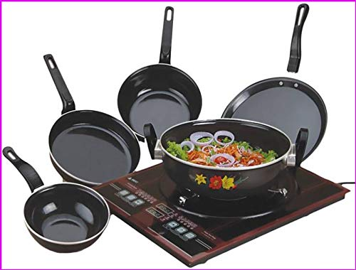 kitchentop Perfect Collections Set of 5 Pcs Induction Base Induction Bottom Cookware Set (Non-Stick), 5 - Piece) Made in India