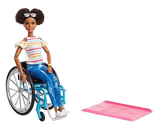 Barbie-GGV48 Fashionistas, Bambola Afroamericana in Sedia a Rotelle, Giocattolo per Bambini 3+ Anni,...