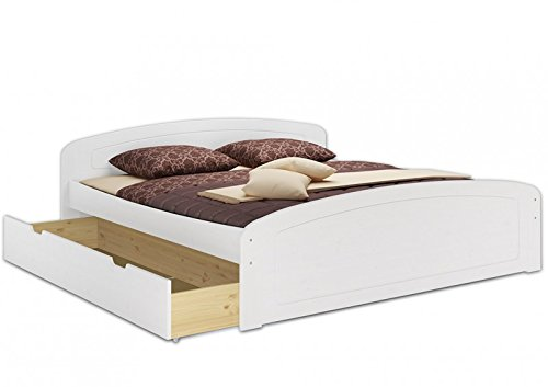 Erst-Holz Funzionale Bianco Matrimoniale in Pino 180x200 con doghe rigide e 3 utili cassettoni...