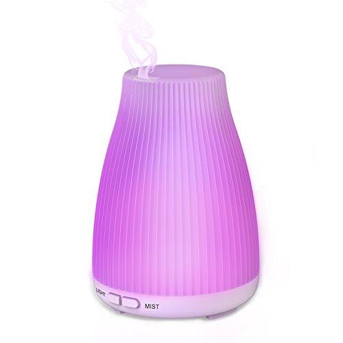 Neloodony Diffusore di Olio Essenziale, 100ml Umidificatore Con 8 luci a LED A Colori Che Cambiano, Auto Spegnimento Senza Acqua e Modalità Nebulizzazione Regolabile per camera da letto e ufficio.