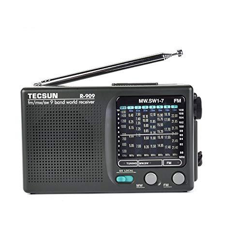TECSUN R-909 Portable Radio FM/MW/SW 9 Bands Shortwave High Sensitivity World Receiver