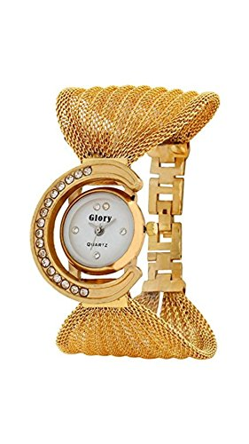Womens watches ( MS ENTERPRISE Analogue White Dial Round Gold Strap Watch - MS-GOLD-JUL-8-A )