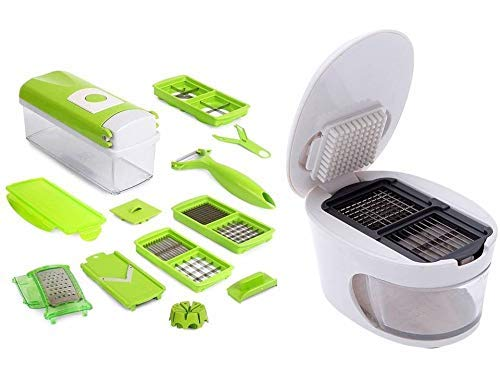 Premsons 3 in 1 Plastic Garlic Press for Crusher Slicer Grater Dicing with Combo Kitchen Dicer & Vegetable Cutter 9 Piece Set (Colours May Vary)