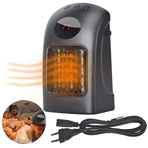 Queta Mini Calefactor Electrico, Calefactor Portátil 900W Calentador de Ventilador de Escritorio Bajo Consumo de Energía PTC Temperatura Ajustable con Cable 1.5m