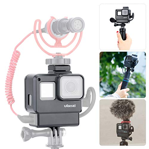 Custodia Vlogging ULANZI V2 w Attacco per pattini a freddo, alloggiamento del telaio collegabile a filo Guscio a conchiglia compatibile con Gopro Hero 7 6 5 Videocamera di azione Video e Vlog Creator