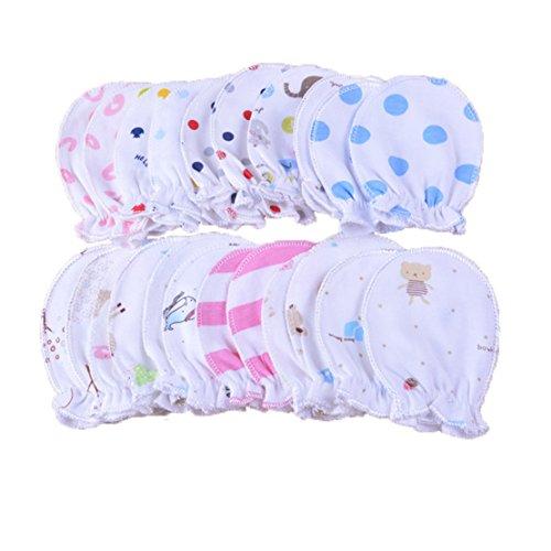 5 paia bambino appena nato Mittens Infant pastello Scratch Guanti di cotone 0-6 mesi