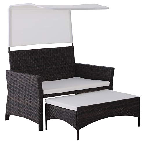 Outsunny 2-TLG. Gartensofa Gartenmöbel Lounge Gartenset Sitzgruppe Rattanmöbel Braun Polyrattan + Metall 2er-Sofa 1 x Hocker mit Sonnendach