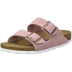 BIRKENSTOCK Damen Arizona Leder Softfootbed Pantoletten, Pink (Rose), 39 EU