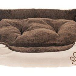 katzeninfo24.de Lennox Hundbett 61 x 48 x 18cm Hundekissen Hundekorb Katzenbett mit Wendekissen Braun