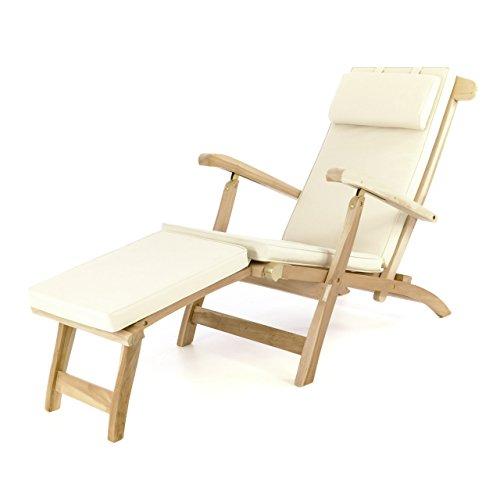 Divero eleganter Deckchair Florentine Liegestuhl Steamer Chair Teakholz unbehandelt inkl. Liegenauflage mit Kopfteil Creme wasserabweisend
