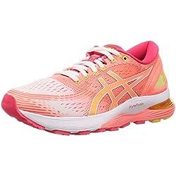 Asics Gel-Nimbus 21, Zapatillas de Running para Mujer, Blanco (White/Sun Coral 100), 38 EU