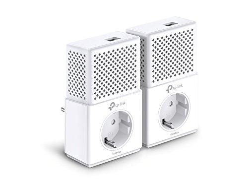 TP-Link TL-PA7010P-KIT Powerline Netzwerkadapter Set (1000Mbps(2-Ports) über Powerline, Steckdose, 2 Gigabit-Port, energiesparend, kompatibel zu allen gängigen Powerline Adaptern, ideal für IPTV) weiß