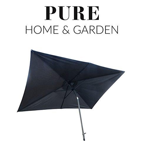 Pure Home & Garden Kurbelschirm 300x200 anthrazit, mit UV-Schutz 40 Plus, Knicker und abnehmbarem Bezug
