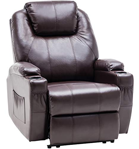 MCombo 7061DB - Poltrona Relax elettrica, con Funzione reclinabile, con Riscaldamento, Colore: Marrone