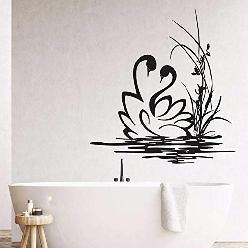 jiuyaomai Swans Decalcomania da Muro Decorazione del Bagno Adesivo da Parete in Vinile Love Swans Wallpaper Rimovibile Swim Animals Decalcomania da Muro Vinyl Art Bianco 57x57cm