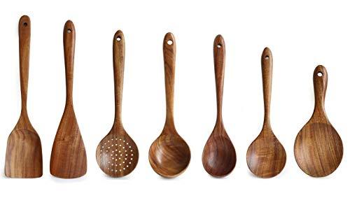 Küchenhelfer Set, 7 Stück Küchenutensilien aus Holz