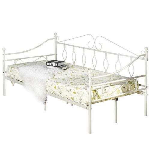 Aingoo Day Bed Lettino in Metallo con doghe in Legno, Letto di Riposo con Gambe e testiera Colore...