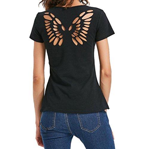 Camiseta Casual Para Mujer, Las Mujeres de la Manera Mariposa Sólida Ahuecan la Blusa de la Manga Corta Suéter Remata la Camisa Absolute