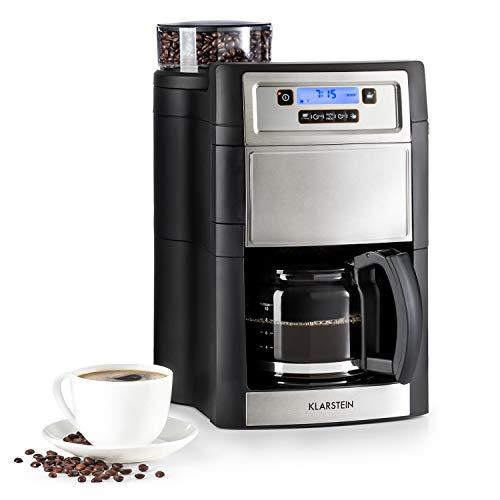 Klarstein Aromatica II Cafetière avec moulin • cafetière filtre • 1000W • verseuse en verre 1,25L • Timer 24h • plaque chauffante • filtre au charbon actif • argent