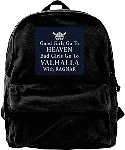 Homebe Zaino Canvas Backpack Good Girls Valhalla Ragnar Rucksack Gym Hiking Laptop Shoulder Bag...