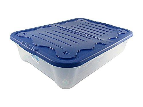 House&Style Vulcano Box Storage Duo - Scatola di immagazzinaggio, LG, Blu, 80 x 60 x 17 cm, 1 pezzo