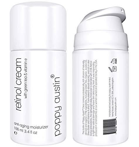 Retinol Creme für Tag & Nacht von Poppy Austin® - Riesig 100ml - 2,5{4d54a86603c9017171c8021cc65e6f957c7c2cfaae072f76b8cd342e0924aa31} Retinol, Vitamin E, Grüner Tee & Sheabutter - Anti-Aging-Feuchtigkeitscreme für das Gesicht & 2018 Beste Anti-Falten-Creme