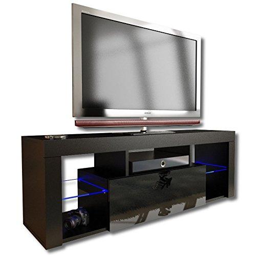 Nuovo. Superb-Mobiletto TV Unit 130cm + nero o bianco + opaco con acrilico lucido porta +...