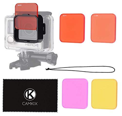 CamKix Kit Filtri Lente per Immersione per GoPro HERO 4 Black, Silver HERO+ HERO+ LCD, HERO and 3+ - Arricchisce i Colori per Varie Condizioni Sottomarine per Video e Fotografia - Include 5 Filtri per Colori Vividi, Contrasto Migliorato, Visione Notturna (Adatta solo sul corpo standard)