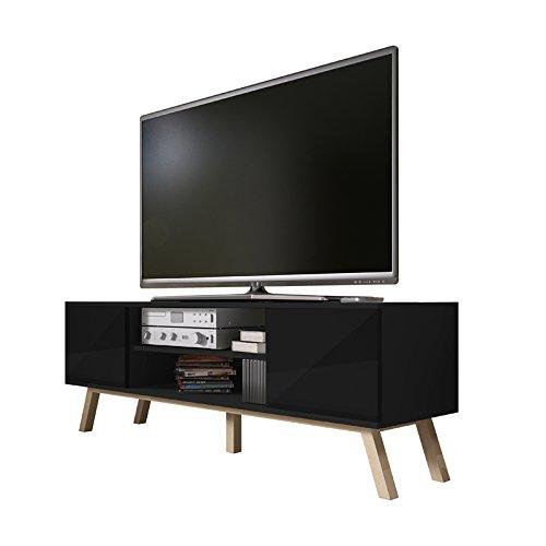 Vero Wood - Mobile Porta TV/Mobiletto Porta TV Moderno (150 cm, Nero Opaco/Pannelli Frontali Nero...