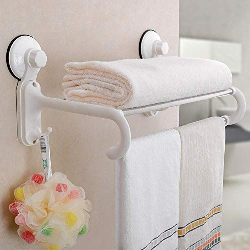 SHOPPOWORLD Medium Size Towel Stand with 5 Crossbars, 2 Hooks Hanger Rack with Magic Suction Cup Suitable for Modern Bathroom and Kitchen (White)