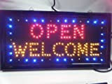 Super Bright Top Quality Colourful Flashing Open Welcome Shop Club, Pub, Animated LED neon Display Hanging Sign 48cmx28cm by Fat-catz