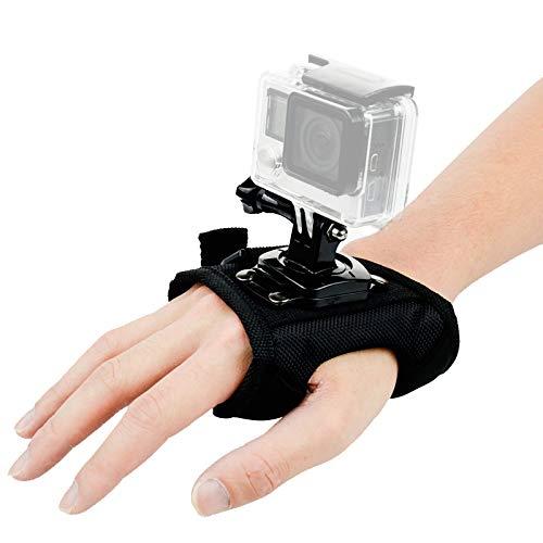ParaPace Supporto per cinturino da polso per GoPro Hero 7/6/5s/5/4s/4/3+, supporto per guanti orientabile panoramico a 360 gradi per YI Discovery SJCAM AKASO
