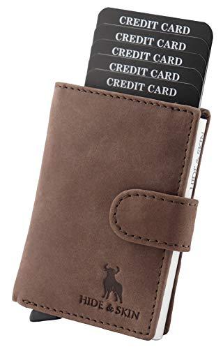 HIDE & SKIN Unisex Leather RFID Blocking Card Holder (Brown)