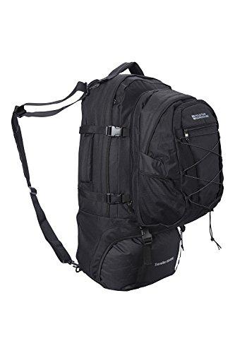 Mountain Warehouse Mochila Traveller 60 + 20 L - Mochila desmontable, mochila resistente, mochila con varios bolsillos - Para viajar, ir de acampada y hacer senderismo Negro Talla única